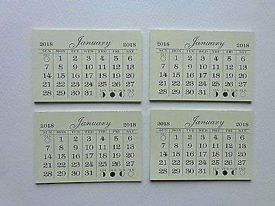 "4 Mini Tear Off 2018 Calendar Pads 2"" X 3"" Last Page Is Card Stock"