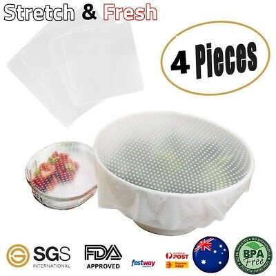 Reusable Silicone 4 Pcs Food Bowl Covers Wrap Seal Keep Food Stretch and Fresh