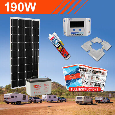 190W 12V Complete DIY Solar Kit with Battery
