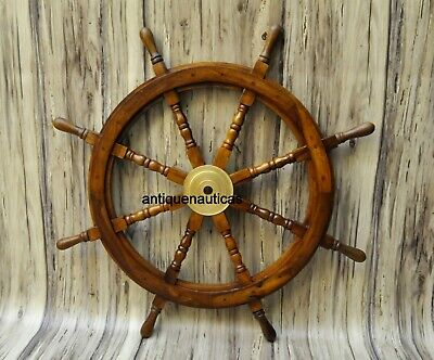 """Nautical 36""""wooden Ship Steering Wheel Pirate Decor Wood Brass Wall Boat Style"""