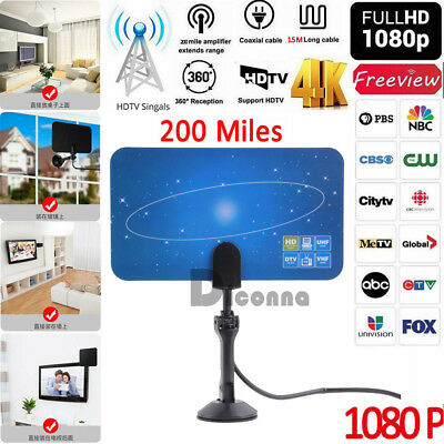 Antenna TV Digital HD 200 Mile Range Skywire TV Indoor 1080P 4K 16ft Coax Cable