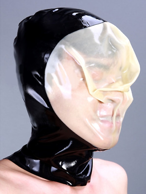 100% Latex Rubber Maske Mask Hood Kopfsack Catsuit Anzug Party Kostüm Halloween