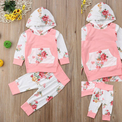 Newborn Baby Kid Girls Clothes Autumn Hooded Tops Pants Outfits Sets Tracksuit