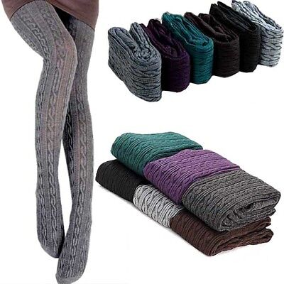 Women Winter Warm Strech Cotton Tights Knit Sock Pant Thick Stockings