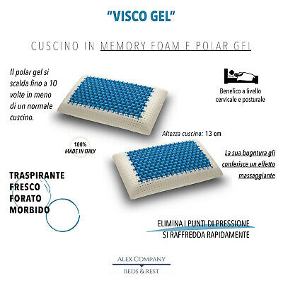 coppia cuscino guanciale memory foam polar gel rinfrescante H13 made in italy
