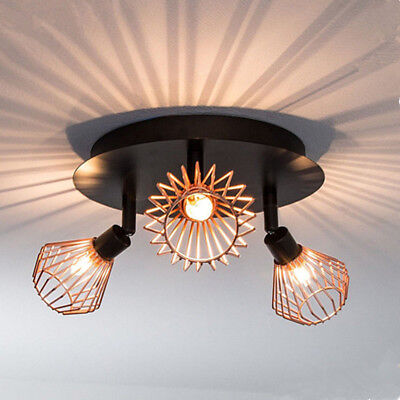 NEW Metal Copper Cage 3 Way Round Bathroom Ceiling Light Spotlight WITH G9 BULBS
