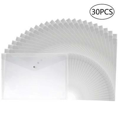 30pcs Clear Plastic Waterproof Envelope File Folder with Button Closure A4 Size