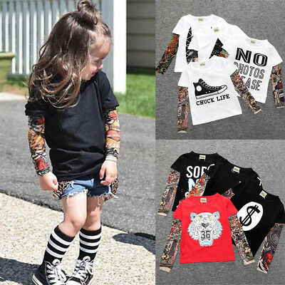 Children Tattoo Long Sleeve T Shirts Cool Kids Boys Girls Cotton Tee Top Clothes