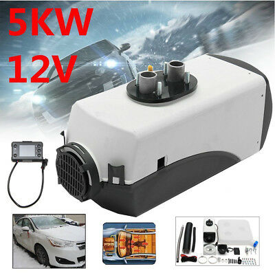 5KW 12V Air Diesel Car Heater Riscaldatore Auto Camion LCD Bianco Nuovo