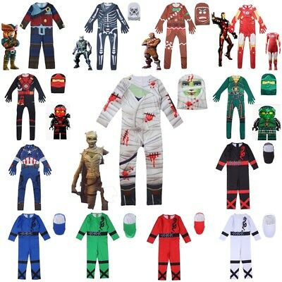 Kids Boys Halloween Cosplay Costume Fancy Party Jumpsuit with Mask Outfits Dress