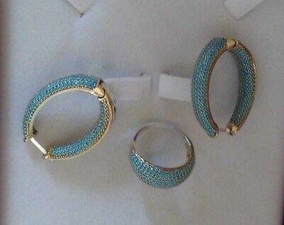 AAA Quality 925 Silver Handmade Jewelry Pave Blue Turquoise Earrings Ring Set