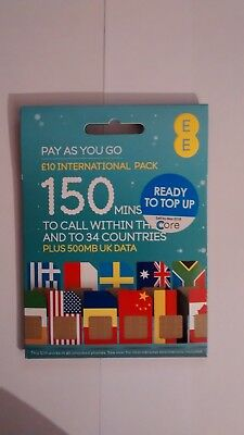 EE International £10 SIM PAYG Pay As You Go Combi Sim Card ZERO CREDIT INCLUDED