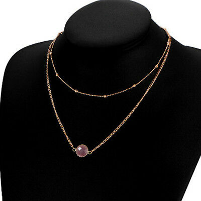 Simple Design Double layer Necklaces Glass inlay Pendant Choker Necklace LH