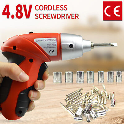45in1 Electric Drill Cordless Screwdriver Bits Household Driver 180° Foldable AU
