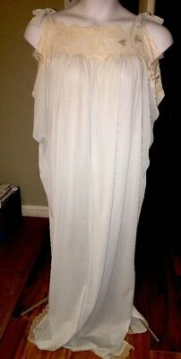 afe745659e1 Vintage Ladies Size Large Lucie Ann Nightgown Baby Blue Nylon Shoulder Tie  Sexy