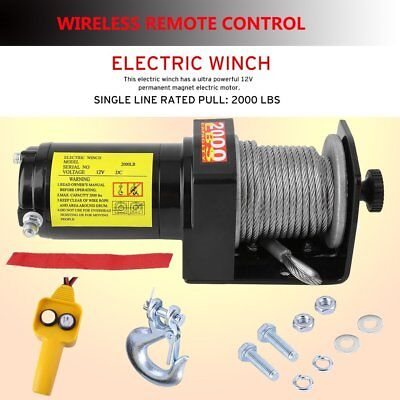 2000LB Heavy Duty Electric Winch Recovery Rope Puller Wireless Remote Control