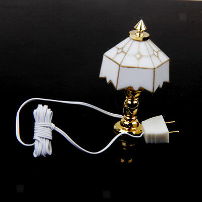 1:12 Scale Dollhouse Miniature Tulip Shape Table Lamp LED Light Accessories