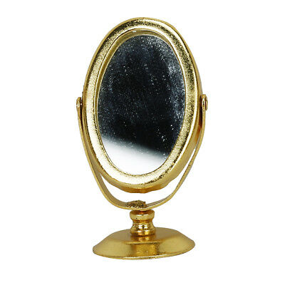 1:12 Scale Dolls House Miniature Bedroom Metal Dressing Table Mirror Gold
