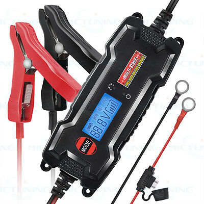 MicTuning 6/12V Smart Car Motorbike Float Battery Charger Maintainer LCD Digital