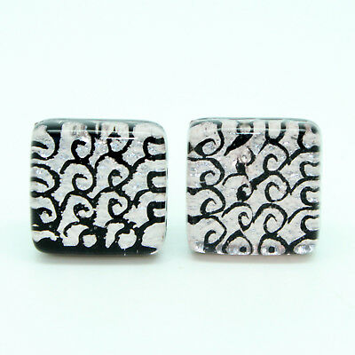 Silver Black Swirl Light Purple Hint Patterned Murano Square Handmade Cufflinks