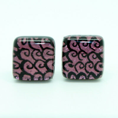 Purple Green Black Swirl Patterned Murano Square Handmade Cufflinks from Venice