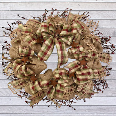 Primitive Burlap Wreath With Pip Berries And Rusted Stars | Farmhouse Wreath