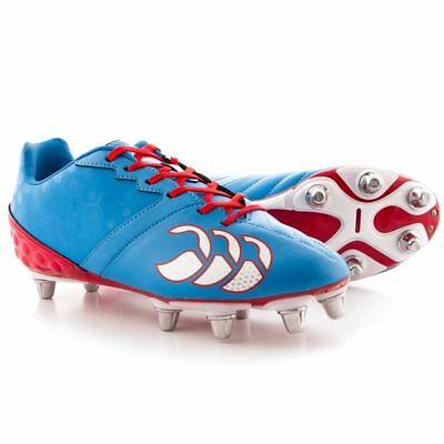 Canterbury Mens Pheonix Club 8 Stud Soft Ground Rugby Boots, Blue/Red