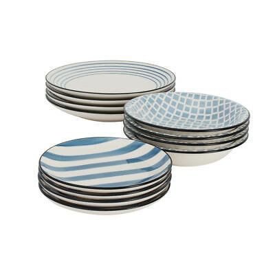 ProCook Dartmouth - Service de table assiettes plates et creuses 12 pcs bleu