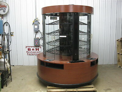CSC Round Glass Door Wood Bakery Donut Pastry Display Show Case w/ LED Lights 6'
