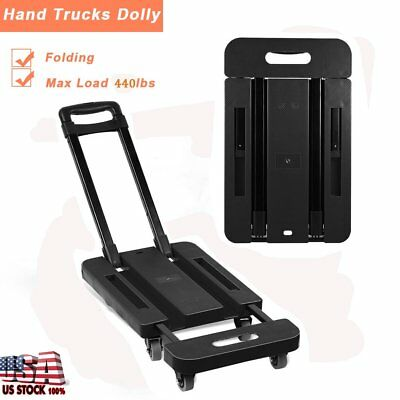 Adjusable 440LB Hand Truck Dolly Collapsible Cart Luggage Trolley & 6 Wheels MA