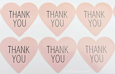 50 x Thank You Stickers Blush Pink Heart Labels Craft Wedding Favours Party Seal