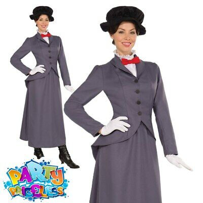 Ladies Mary Victorian Nanny Fancy Dress Costume World Book Week Day Outfit