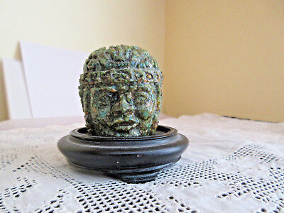 Vintage Carved Mayan Green Stone Bust Head Sculpture