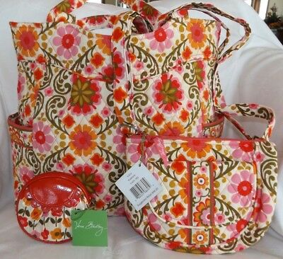 Vera Bradley Lot Of 3 Folkloric Pleated Tote Bag, Lizzy Mini Hipster  Coin Case