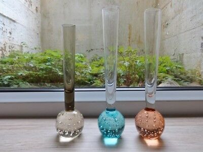Collection of 3 vintage controlled bubble glass bud vases vase (ref.a)