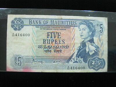 Mauritius 5 Rupees 1967 P30 British Queen 96# Currency Bank Banknote Money