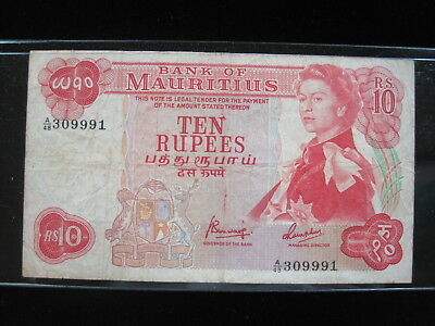 Mauritius 10 Rupees 1967 P31 British Queen 72# Currency Bank Banknote Money