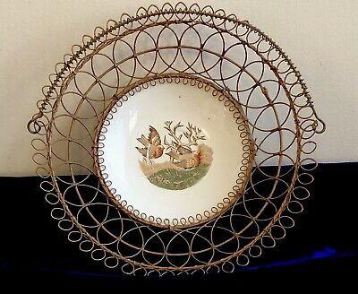 Antique VICTORIAN Fancy WIRE WORK Footed BASKET Two Birds ENGLISH China BOWL