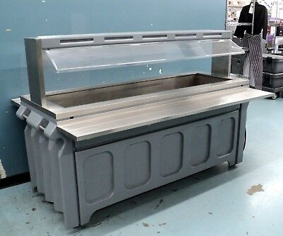 Refrigerated Salad Bar Buffet Table with Sneeze Guard - Cold Well Buffer