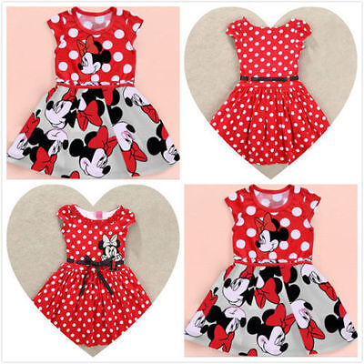 Hot Sale 2 Minnie Mouse Princess Birthday Party Girls Dresses Kids Clothing Gift