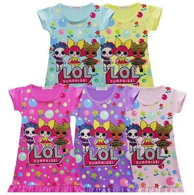 Hot Sale L.O.L Surprise Doll Girls Kids Short Sleeve Summer Casual Party Dress A