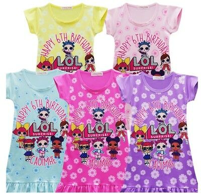 Hot Sale L.O.L Surprise Doll Girls Kids Short Sleeve Summer Casual Party Dress C