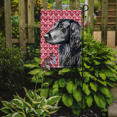 Flat Coated Retriever Hearts Love and Valentine's Day Portrait Flag Garden Size