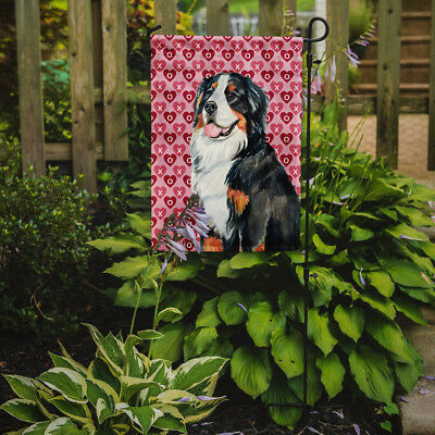 Bernese Mountain Dog Hearts Love and Valentine's Day Portrait Flag Garden Size