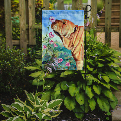 Carolines Treasures  7105GF Shar Pei smell the flowers Flag Garden Size