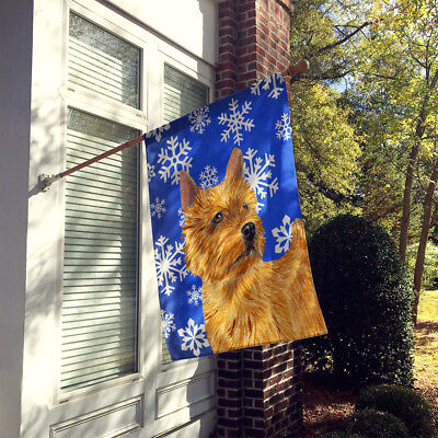 Norwich Terrier Winter Snowflakes Holiday Flag Canvas House Size