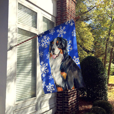 Bernese Mountain Dog Winter Snowflakes Holiday Flag Canvas House Size