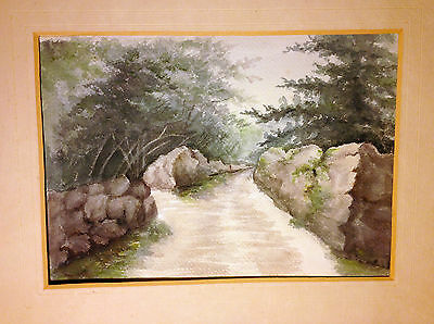 Rare Original Antique / Vintage Watercolor East Coast Rural Wooded Path! Hiking