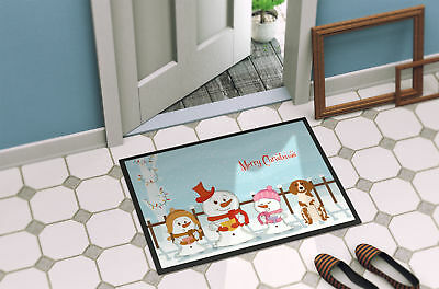 Merry Christmas Carolers Brittany Spaniel Indoor or Outdoor Mat 24x36