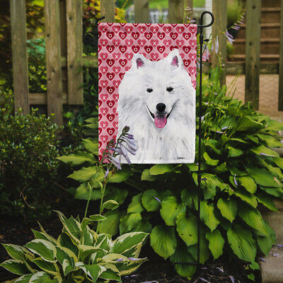 American Eskimo Hearts Love and Valentine's Day Portrait Flag Garden Size